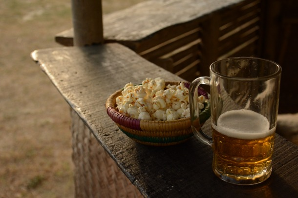 z beer and popcorn