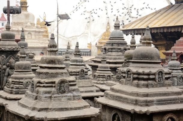 2 Swayambhu stone little stupa roofs